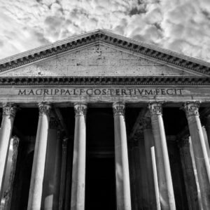 Black and white of ancient Roman Pantheon in Rome, Italy